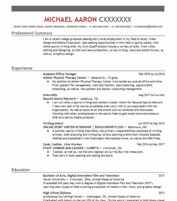 Internship  Writer Resume