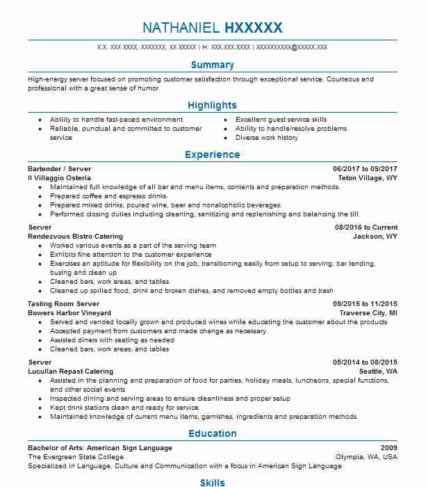 restaurant captain resume example the watergate hotel
