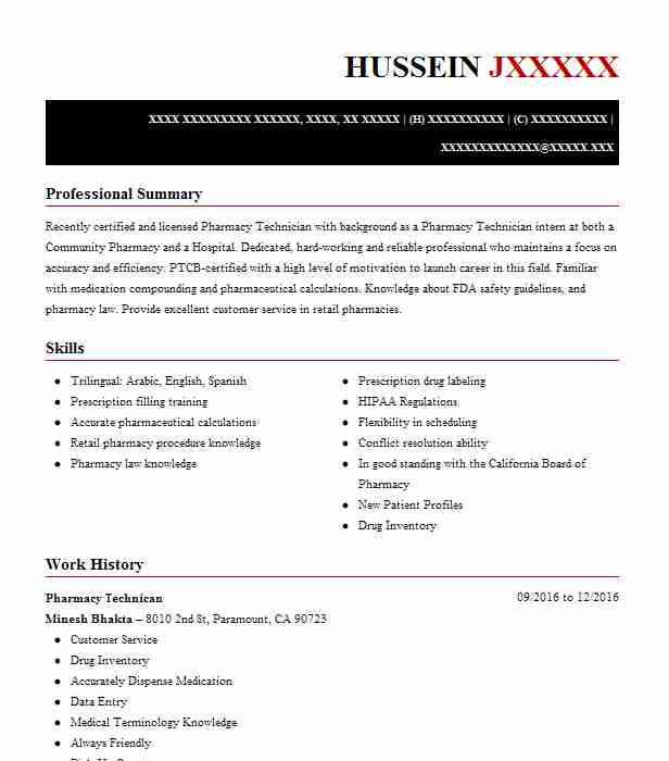 Pharmacy Technican Resume Example Minesh Bhakta Bell Gardens