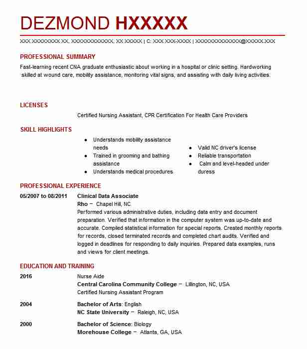 Clinical Research Nurse Resume Sample: Clinical Data Associate Resume Sample