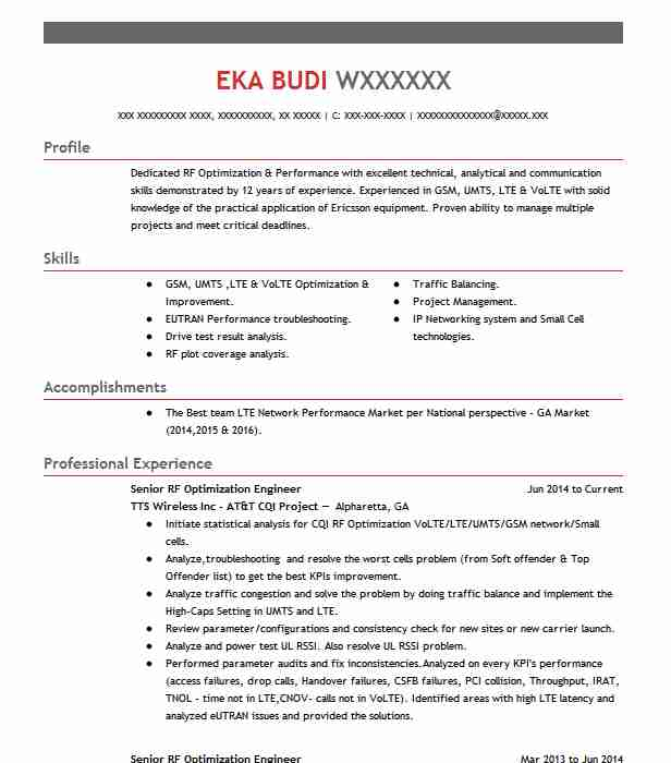 Senior Rf Engineer Resume Example T Mobile Parsippany