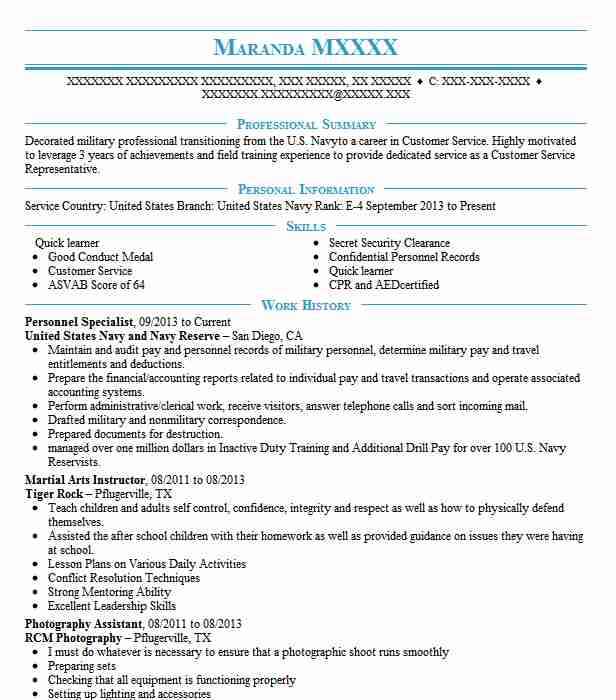 personnel specialist resume sample specialist resumes livecareer