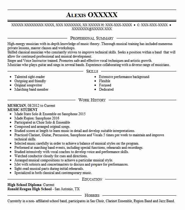 musician  u0026 student resume example silver creek high school