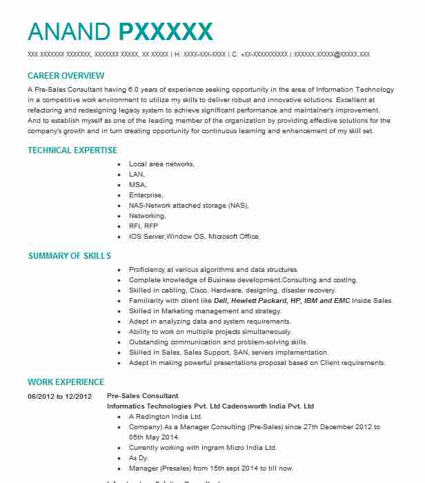pre sales solution consultant resume example infor
