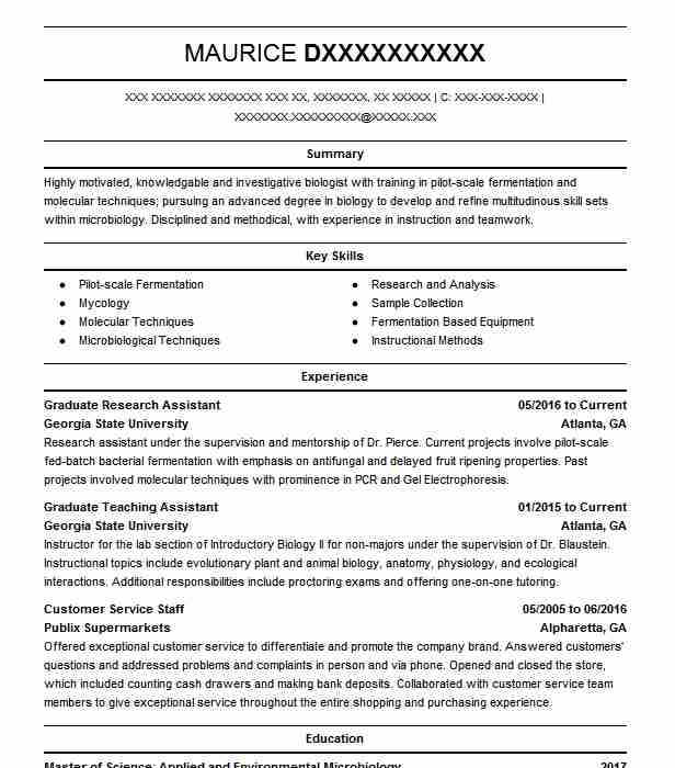 Biology Degree Resume Examples: Graduate Research Assistant Resume Sample