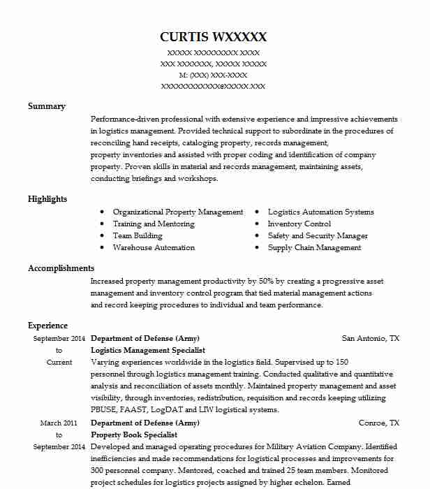 Logistics Management Specialist Resume Sample | LiveCareer
