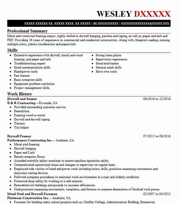 64 Drywall Resume Examples In Oregon Livecareer