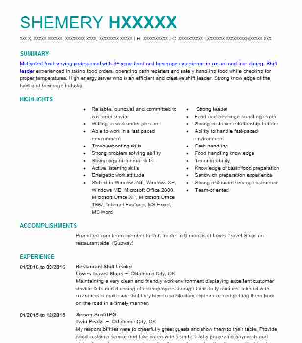 Shift Leader Resume | Restaurant Shift Leader Resume Sample Leader Resumes Livecareer