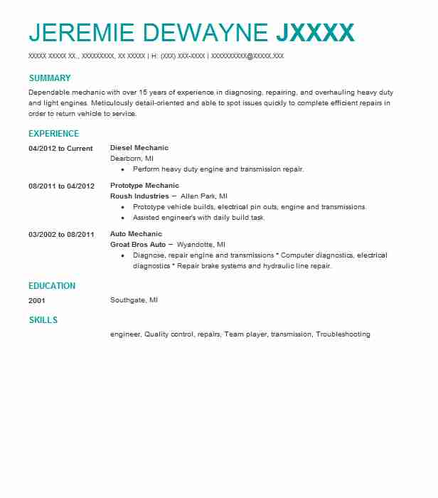 Diesel Mechanic Resume Sample | Mechanic Resumes | LiveCareer