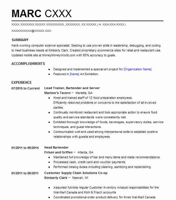 Lead Trainer, Bartender And Server  Bartender Skills Resume