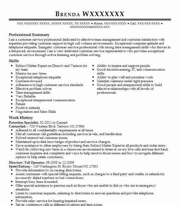 retention specialist resume sample