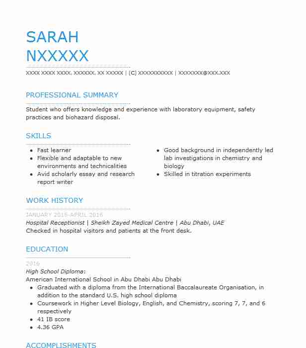 Hospital Receptionist Resume Sample
