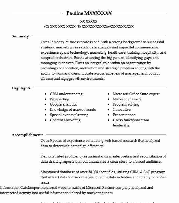 160 market research resume examples in georgia livecareer