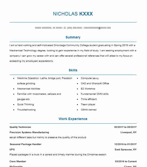 Quality Technician Resume Sample | Technical Resumes | LiveCareer