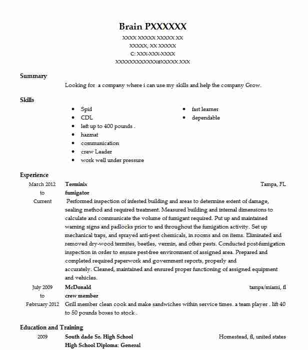 74D Chemical (CBRN) Specialist Resume Example US Army