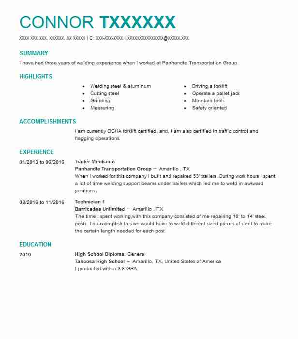 11 construction resume examples in canyon tx livecareer trailer mechanic malvernweather Images