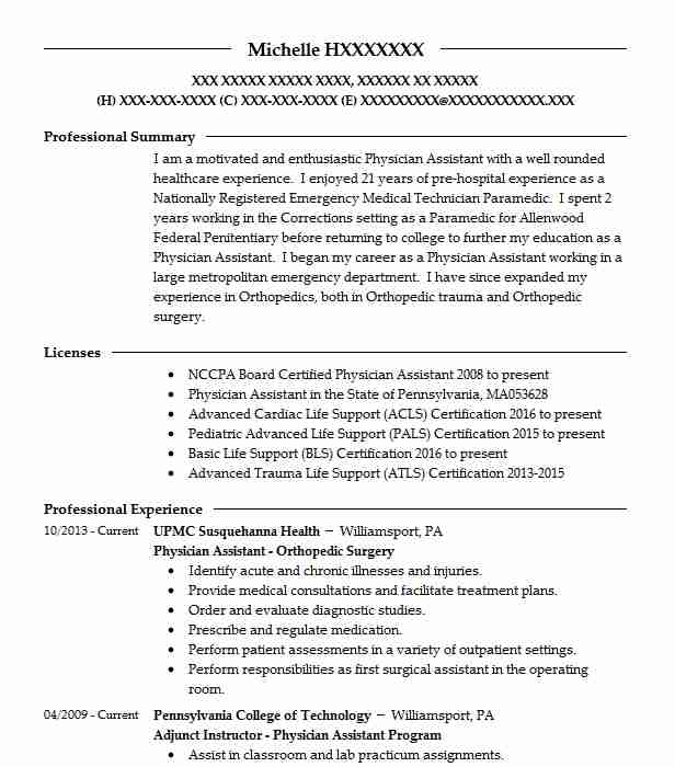 Physician Assistant Orthopedic Surgery Resume Example (UPMC ...