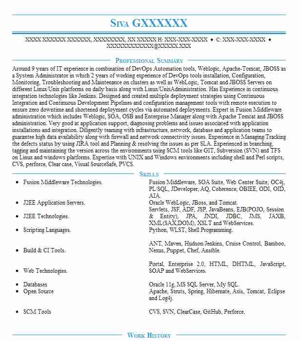 Devops Engineer / Systems Administrator Resume Example AT&T ...