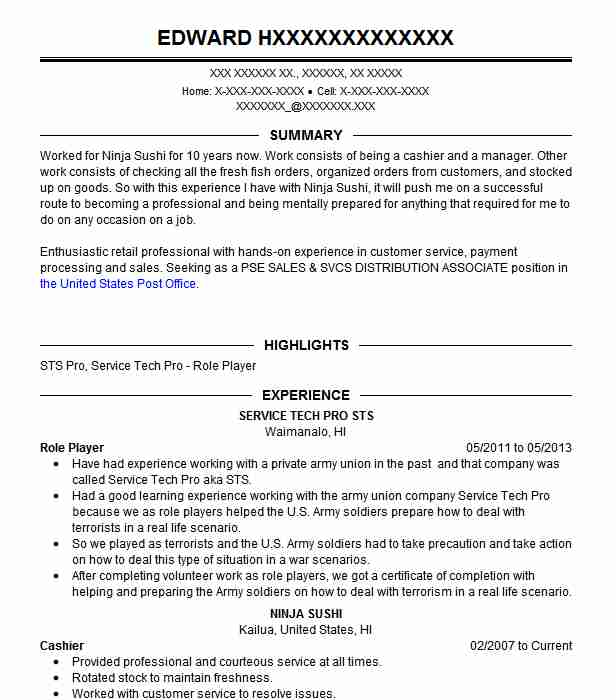 Role Player Resume Example Service Tech Pro Sts Kailua Hawaii