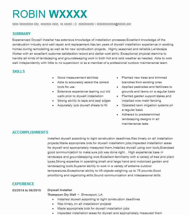 drywall installer resume sample