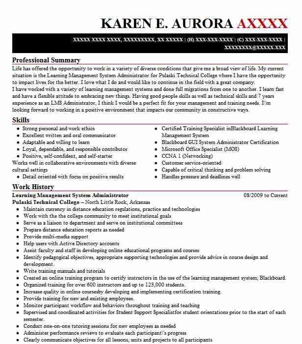 Learning Management System Administrator Resume Example ...