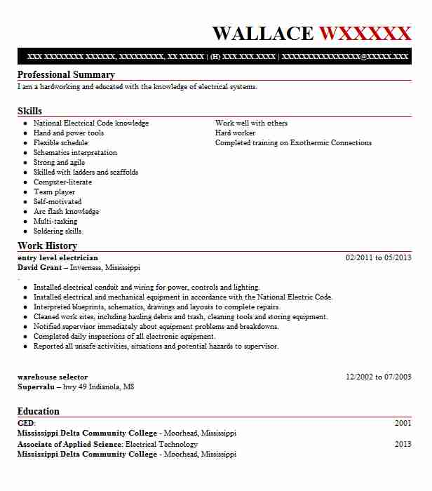 Entry Level Electrician Resume Not Lossing Wiring Diagram