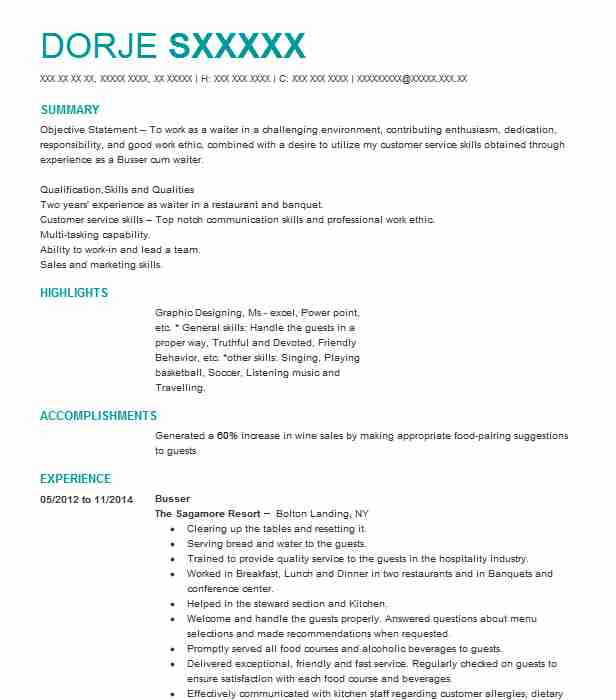 1236 Bussers Resume Examples in New York LiveCareer