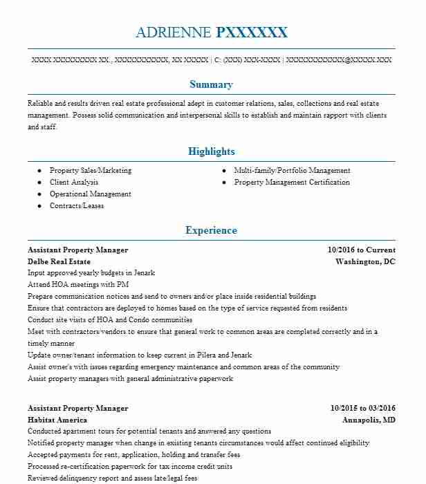 Assistant Property Manager Resume Example Delbe Real Estate