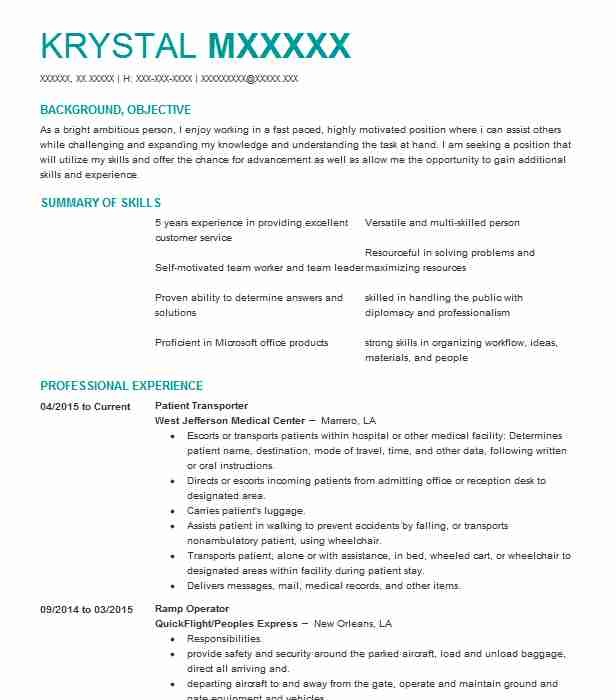 Lovely Patient Transporter  Court Reporter Resume