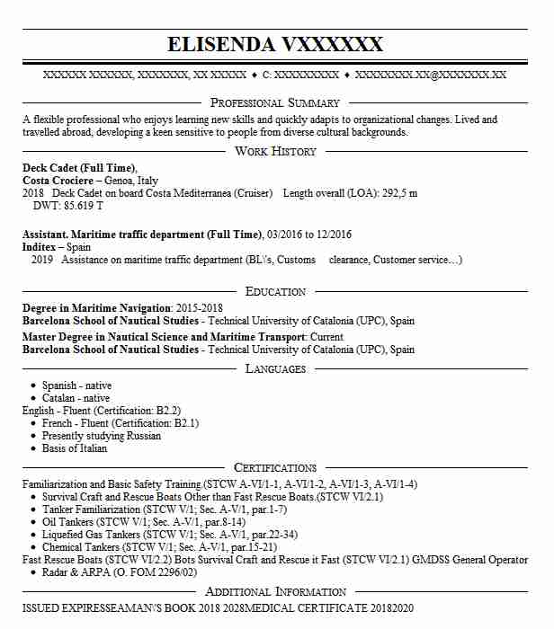 deck cadet resume example kirby offshore marine