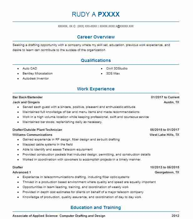 Create My Resume  Autocad Drafter Resume