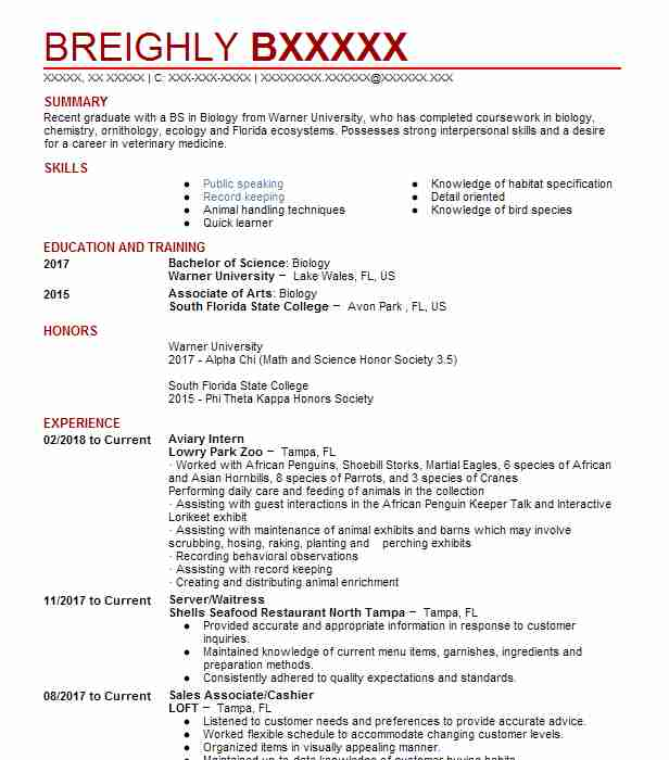 522 zoology resume examples