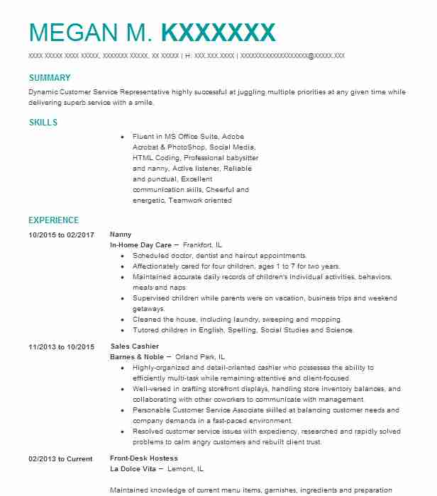 best nanny resume example