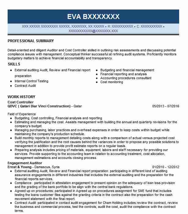 Cost Controller Resume Sample