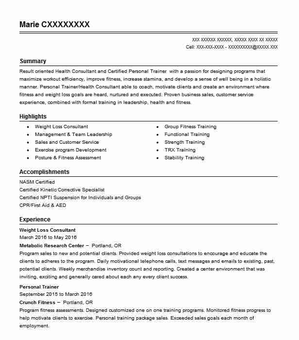Weight Loss Consultant Resume Sample | Consultant Resumes | LiveCareer
