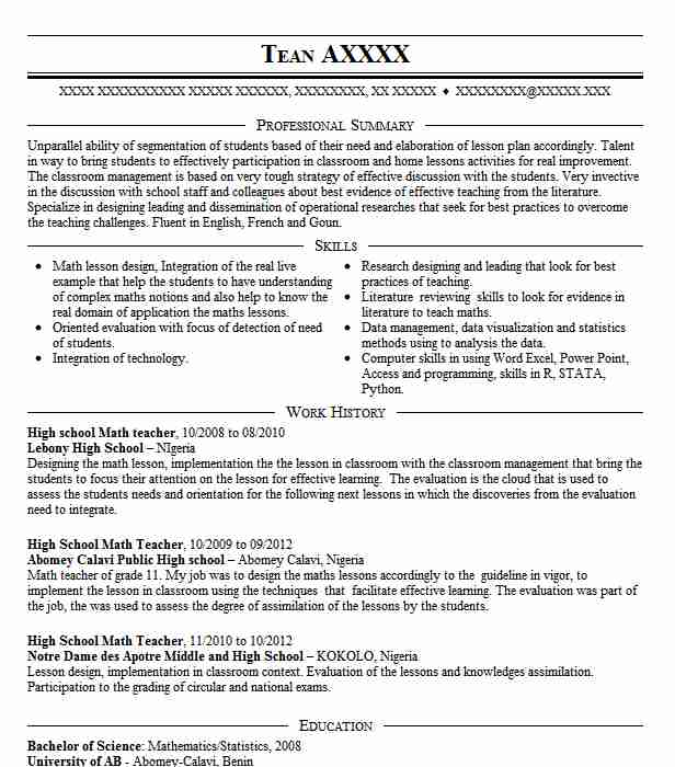 High School Math Teacher Resume Example Kansas City Missouri