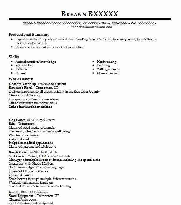 delivery clean up - Animal Science Resume Examples