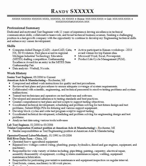 senior test engineer resume sample