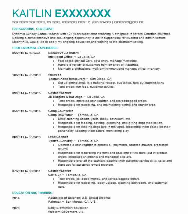 Executive Assistant Resume Example (Intelligent Office) - San Diego ...
