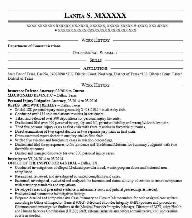Defense Attorney Resume Example W C Defense Attorney Black And