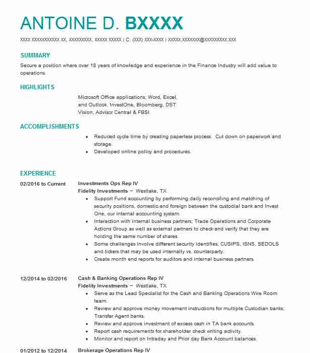 Investments Ops Rep Iv Resume Example Fidelity Investments
