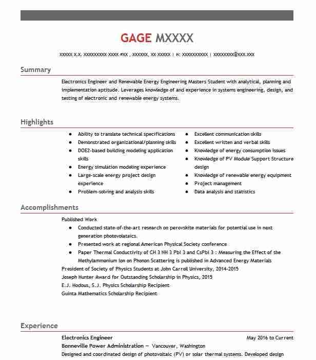 68 Energy And Utilities Resume Examples in Oregon | LiveCareer