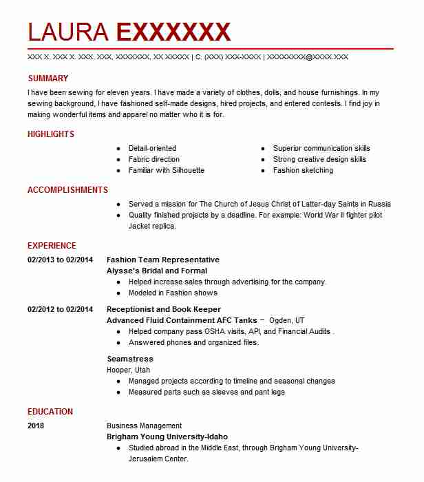 seamstress resume example designs by mindy west jordan utah