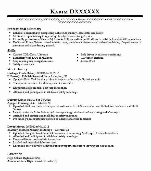 Garbage Truck Driver Resume Sample Driver Resumes Livecareer