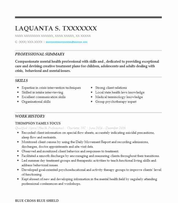 qualified mental health professional resume example