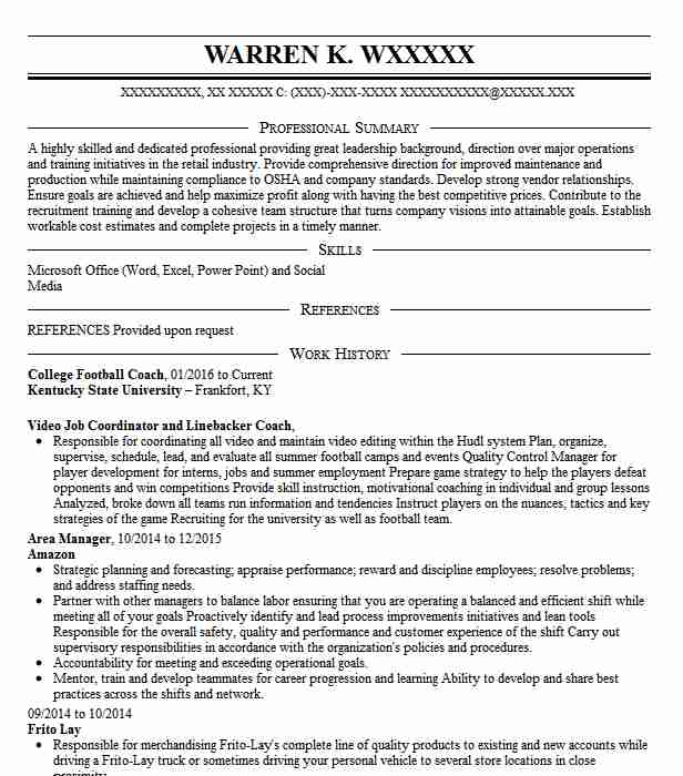 college football coach resume sample