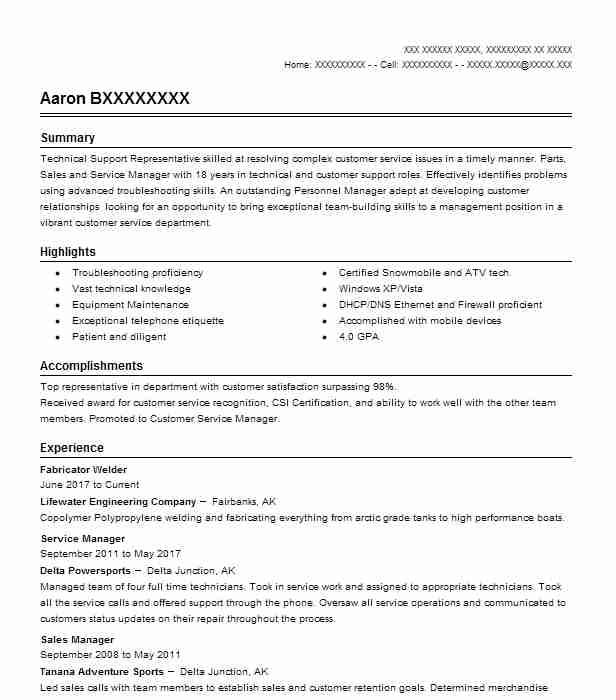Fabricator Welder Resume Example Welder Resumes Livecareer