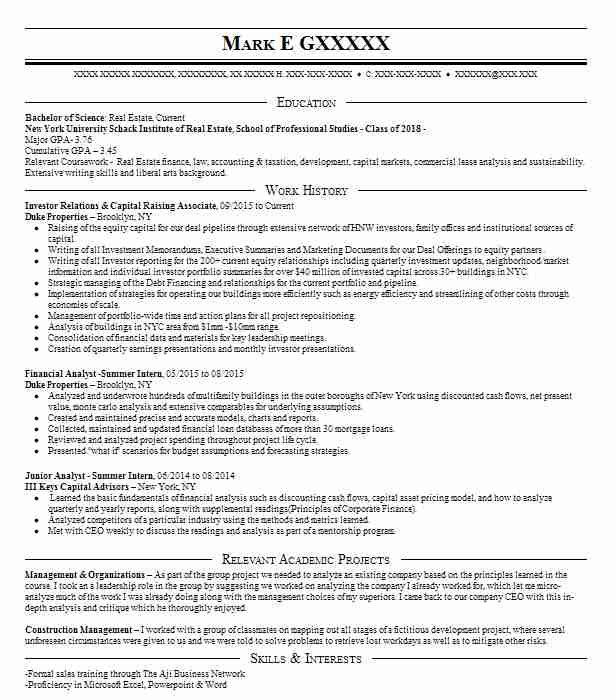 investor relations associate  contract  resume example