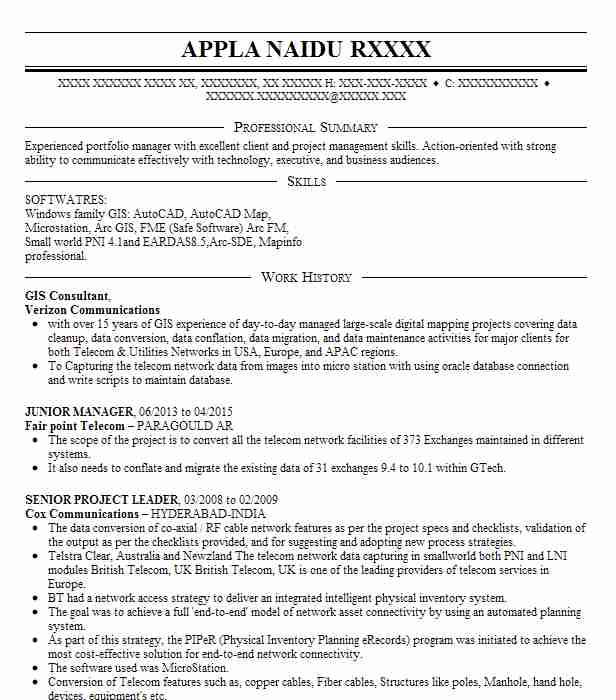 gis manager resume example federal emergency management