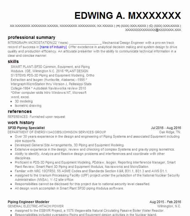 SP3D Piping Specialist Resume Example DEPARTMENT OF ENERGY ...